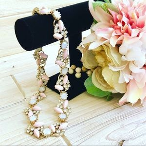 H&M Gorgeous Gold Marquis Pink Statement Necklace